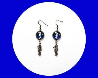 seahorses, Tan and blue - gift idea earrings