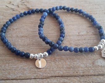 Sodalite silver 4 mm beads and charm bracelet