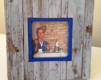 "Rustic Picture Frame ""Blue On Blue"" from RusticAndRawFrames // Picture Frames, Rustic Picture Frames, Rustic Frames, Picture Frame, Frames"