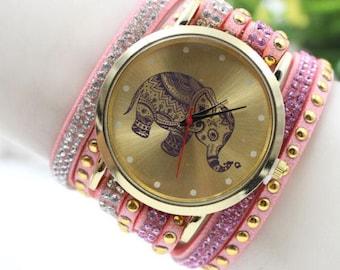 Multi strand ethnic Elephant dial wristwatch KIT