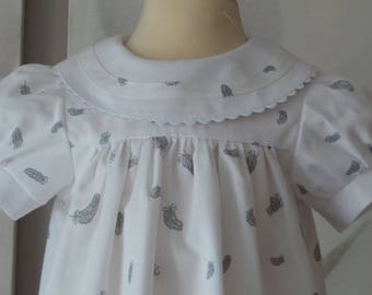 dress 12 months in cotton pique printed feathers