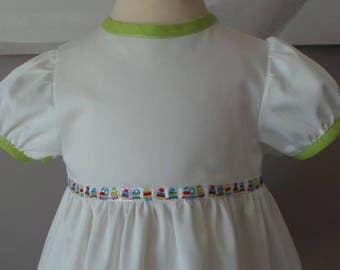 dress 12 months in off-white cotton sateen