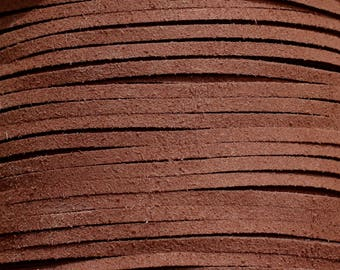 Reel 90 m - cord strap suede 3x1.5mm chocolate