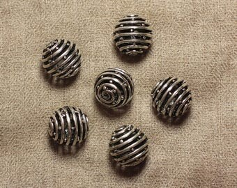 Metal bead silver plated Rhodium ball 18mm - 1pc 4558550033802 spiral