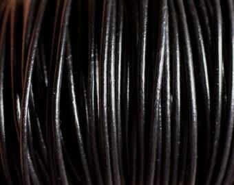 Skein 90 meters - wire cord genuine leather Black 2 mm - 8741140011243