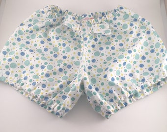puffy baby bloomer panties tassels blue green mustard yellow