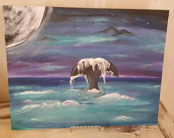 11x14 Whale painting with FREE SHIPPING