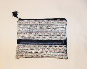 Navy and embroidered blue pouch