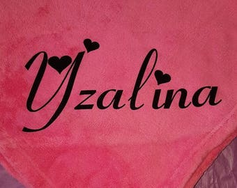Blanket fleece pink baby personalized with a flocking velvet (1 listing)