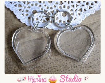 2 pretty heart Keyring with acrylic Transparent 7.8 cm x 5.0 cm photo frame