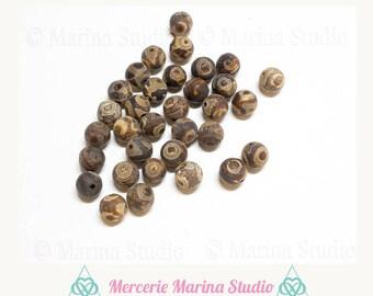 5 vintage genuine 8mm Tibetan dzi beads - agate beads very rare