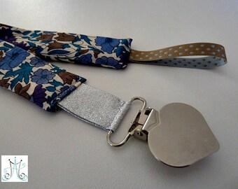 Liberty Poppy Daisy blue - silver heart clip pacifier