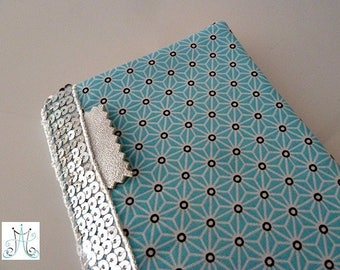 Checkbook wallet Asanoha turqoise with silver glitter