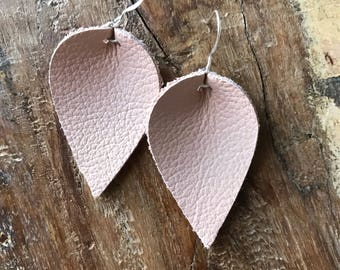 Leather earrings - blush pink leaf design