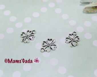 Set of 6 charms/pendant/charms Shamrock four leaf REF:2 / 08