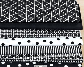 Set of 7super fabrics patchwork 50 x 30 cm black and white
