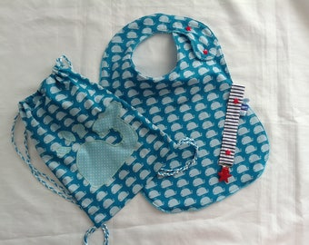 Maxi bib, snack bag and the marine theme n fabric pacifier clip