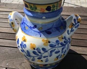 Ceramic Blue, Yellow and White Vase