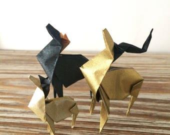 Lampe vintage en bocal avec  famille d'antilope en origami personnalisable