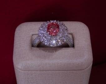 OOAK Handmade Oval Padparadscha Sapphire Diamond Ring (FREE Custom Sizing Available)