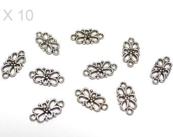 10 connectors flowers in silver