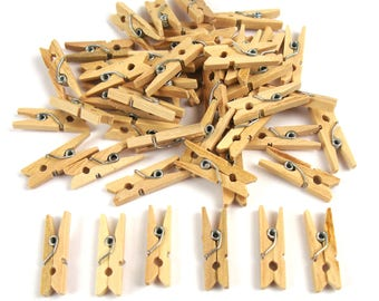 40 mini pins natural wood and steel 25 mm