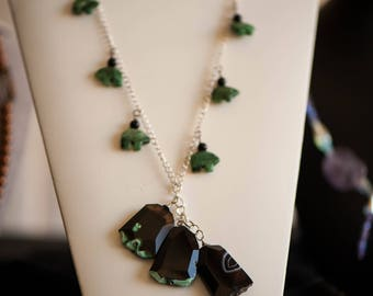 Jade Bear Fetish Necklace and Earrings
