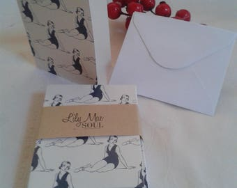 12 cards, plus 12 envelopes theme romantic girl dancer outfit