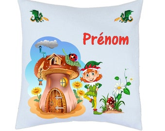 Pillow satin little Pixie motif personalized name choice ref 96