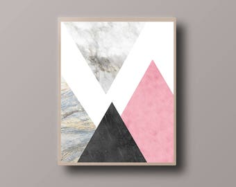 Abstract Scandinavian Print, Marble Print, Minimalist Print, Abstract Mountain Print, Abstract Landscape Print, Minimalist Triangle Print