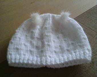 WHITE NEWBORN TASSEL HAT FAUX FUR