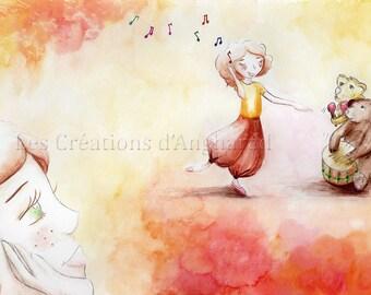 Watercolor original pattern Dream of music