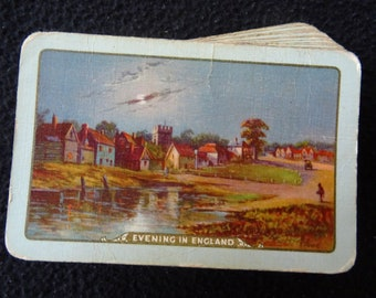 Vintage 1930's Pack Deck of Waddington Playing Cards - Evening in England