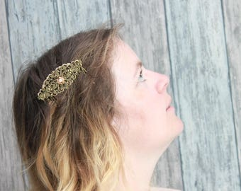 "Comb hair ""Sparkle"" gold, nude, embroidered shiny, thin, wedding, Bridal, romantic"