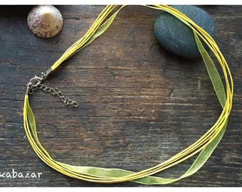 Cord Choker 45 cm Naples yellow waxed cotton and organza