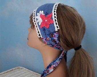 Blue floral headband crochet hairband, country headband, festival accessories, bohemian headband, hippie head wrap, boho gypsy hairband,