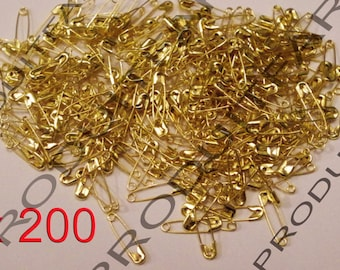 200 mini pins for safety in Metal Golden 19 x 5 mm.