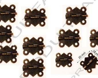 Set of 10 Bronze hinges for box jewelry box chest screw described 20 x 18 mm