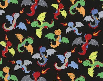 Patchwork dragon black timeless treasures fabric