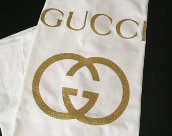 gucci iron on, gucci shirt applique, gucci diy patches, prada heat transfer decal, tshirt appliques, designer shirts diy, gold glitter htv