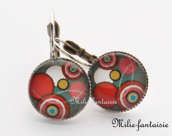 """Earrings """"red and taupe"""""""