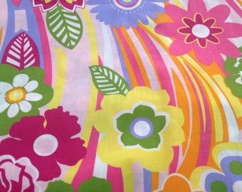 Fabric 1 meter cotton colorful flowers