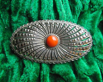 Antique silver brooch with red coral and markesiet