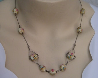 Antique silver necklace with Venetian glass beads and earrings