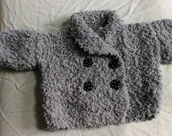 Paletot 9 mois gris tricoté main