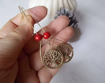 ☀ AMBER LEVERBACK EARRINGS, TREE OF LIFE ☀