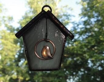 Stained Glass Birdhouse Suncatcher