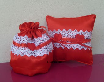 purse and bag Red satin and lace ring pillow