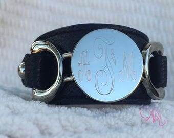 Monogram Leather Bracelet, Monogram Bracelet, Monogram Black Leather Bracelet, Black Leather Bracelet