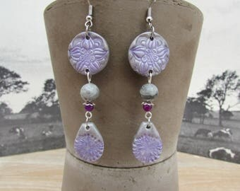 """Wisteria"" polymer clay and natural stone earrings"